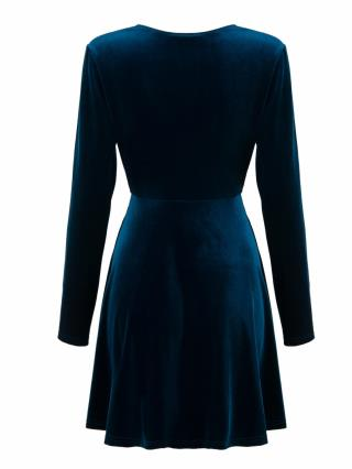 34466c65166d Blue Plunge V-neck Long Sleeve Velvet Skater Dress