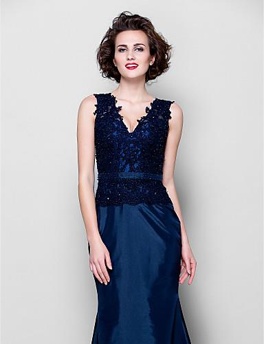 Lanting Bride Trumpet / Mermaid Plus Size / Petite Mother of the Bride  Dress Sweep / Brush Train Sleeveless Lace / Taffeta withAppliques