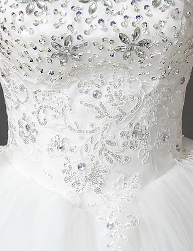 81dfec405fc Ball Gown Wedding Dress Floor-length Strapless Lace   Satin   Tulle with  Crystal