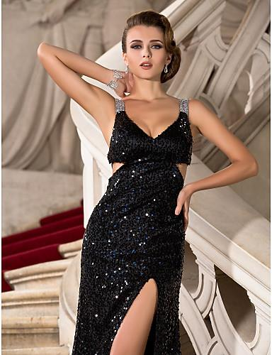TS Couture Formal Evening / Military Ball Dress - Sparkle Shine / Furcal  Plus Size / Petite Sheath / Column V-neck / Straps Floor-length Sequined