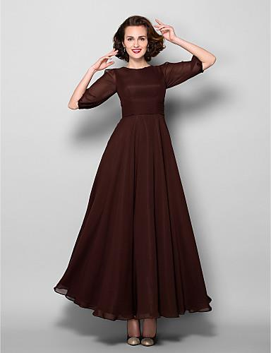 Lanting Bride A-line Plus Size / Petite Mother of the Bride Dress  Ankle-length Half Sleeve Chiffon with Sash / Ribbon / Ruching